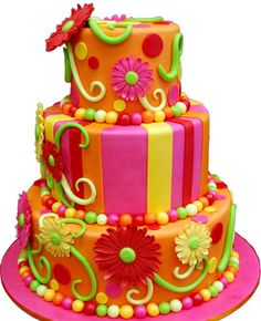 bright candyland flower cakes