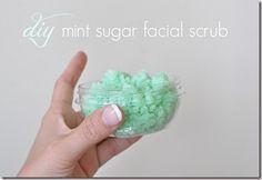 Mint Sugar Facial Scrub: 1 cup sugar  1 tbsp dry milk  1/2 cup coconut oil  1/4 tsp mint oil (or tea tree oil)  4 drops green food coloring