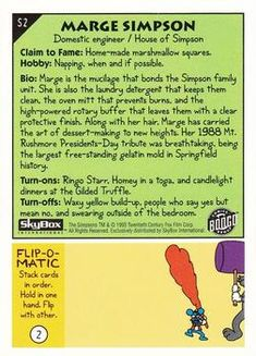 1993 SkyBox The Simpsons #S2 Marge Simpson | Trading Card Database Family Units, Collector Cards, Trading Card Database, Laundry Detergent, The Simpsons, Trivia, Burns, Quizes, Powdered Laundry Detergent