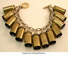 Make pie, not war. Turn your swords into plowshares and your helmets into fishbowls. Turn bullets into bells into bracelets. Ammo Jewelry, Brass Jewelry, Jewelry Crafts, Jewelry Art, Beaded Jewelry, Jewelery, Handmade Jewelry, Gothic Jewelry, Jewelry Necklaces