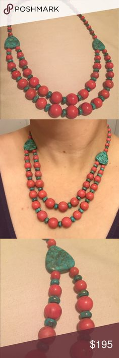 🎈REDUCED🎈Jay King coral and turquoise necklace Gorgeous Coral and turquoise necklace from designer Jay King. Originally purchased through HSN, worn once. Jay King Jewelry Necklaces