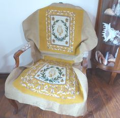 Large Needlepoint Style Directoire French Bee Cicada Lyre Harp Deep Gold Chair Back & Seat Cover by MyFrenchTexas on Etsy