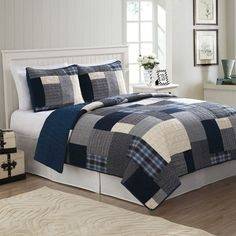 Bring welcoming warmth and comfort into your bedroom with the Indigo Blues Quilt Set. This quilt features a patchwork of patterns in beautiful indigo blues, greys, and more, to create a visually rich piece that will add style to your home. Boys Full Bed, Twin Beds For Boys, Plaid Bedding, Quilt Bedding, Bedding Shop, Twin Quilt, King Quilt Sets, Queen Quilt, Teen Bedding Sets