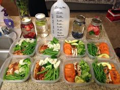 My weekly meal prep includes: fruit & herb infused waters, tilapia, grilled chicken, and green veggies. Lean & Green baby!