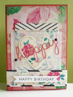 Happy happy birthday card using @Crate Paper Maggie Holmes and DIY Shop papers.