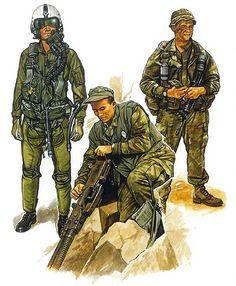 USMC: Fixed-wing flight gear; Da Nang (1970), Rifleman; A Shau Valley (1969), Recon team member (1970)