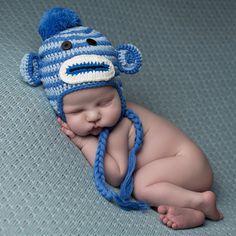 Striped Baby Boy Blue Sock Monkey Hat #Melondipity