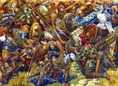 """""""Battle of Platea"""", Alexander Ezhov - The Battle of Plataea was the final land battle during the second Persian invasion of Greece. It took place in 479 BC near the city of Plataea in Boeotia, and was fought between an alliance of the Greek city-states, i Greek Warrior, Fantasy Warrior, Fantasy Art, Battle Of Plataea, Greco Persian Wars, Greek Soldier, Dark Ages, Illustrations, Ancient Civilizations"""