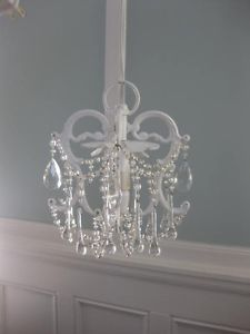 Mini Tiny White Shabby Chic French Country Electrical Plug In Chandelier