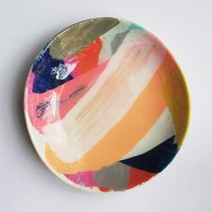 Martinich and Carran - 1 Small Dish Broad brush stroke maximalist hand painted design. These are really fun. Ceramic Painting, Ceramic Art, Ceramic Plates, Ceramic Pottery, Pottery Painting Designs, Plates And Bowls, Hand Painted Ceramics, Hand Painted Dishes, Decoration