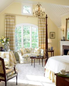 buttery yellow bedroom - Browse the exterior and interior images of Charles River Country House located in Wellesley, MA French Country Bedrooms, French Country Decorating, Traditional Bedroom, Traditional House, Traditional Design, Home Bedroom, Bedroom Decor, Bedroom Ideas, Floral Bedroom