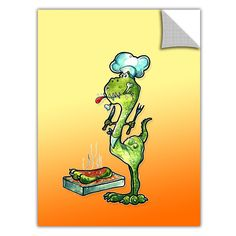 ArtApeelz 'Dinosaur Dinner' by Luis Peres Graphic Art on Wrapped Canvas