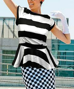 Black & White What a Night Peplum Top #zulily #zulilyfinds  love this idea of mix of patterns