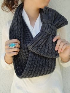 Dark Gray Bow Infinity Scarf