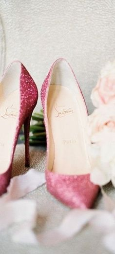 Christian Louboutin Pink Glitter Pointed Heels