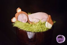 Newborn fox photo prop. Newborn fox bonnet and tail set available at Etsy shop Crochet Harvest. Image by Two Tiny Dreams Photography. #foxphotoprop #newbornfox
