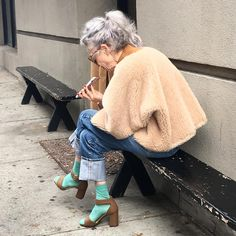 "Rolled up jeans, colored socks with sandals and cape  Amber Grace Johnson (@agjnyc) on Instagram: ""#goals"""