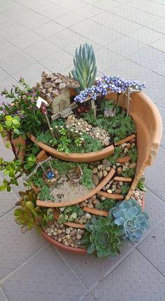 Garten Gestaltung Ideen Pflanztopf Dekorieren Gartenbank | Miniature Garden  | Pinterest | Gartenbänke, Dekorieren Und Mini Garten