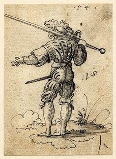 Landsknecht (mercenary) with a two-handed sword; soldier seen from behind, holding a large sword supported on the back of his shoulders, a s...