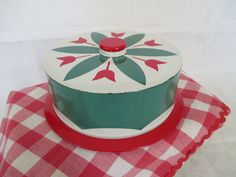 Vintage 1950's Cake Tin Carrier  Mid Century Round by vintagenelly