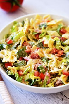 BLT Pasta Salad Ranch Pasta, Pasta Recipes, Salad Recipes, Cooking Recipes, Wild Game Recipes, Drink Recipes, Appetizer Recipes, Soup Recipes, Chicken Recipes