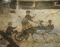 Mosaic depicting the Little Circus with Cupids as charioteers, Villa Romana del Casale (UNESCO World Heritage, 1997), Piazza Armerina, Sicily. Roman Civilization, 4th Century.