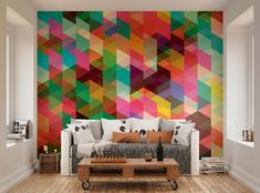 ohpopsi Modern Design Colourful Geometric Triangle Pattern Wall Mural #ohpopsi #WallMural