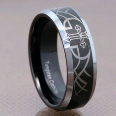 8mm Tungsten Black Mirror Top Bevel Edge Christian Cross Etch Mens Wedding Band FlameReflection 2399