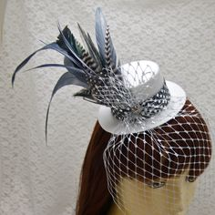 CUSTOM BRIDAL Mini Top Hat Fascinator - Many options available for hat, veil, band, feathers - Bride, Bridesmaids, Bridal Shower, Wedding. $38.00, via Etsy.