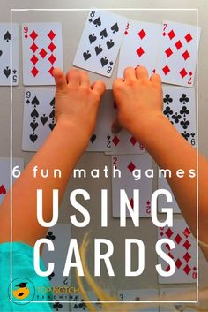 Are you after some more fun math games that you can use with your students? Maybe youre teaching your kids about problem solving or you would like to develop their number work. I find math card games are a fantastic way for kids to practice and consolida Math Card Games, Card Games For Kids, Fun Math Games, Math For Kids, Dice Games, Math Games For Preschoolers, Math Games For Kindergarten, Number Games For Kids, 1st Grade Learning Games