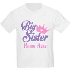 Cafepress Personalized Big Sister Name T-Shirt, Size: Kids Large, White