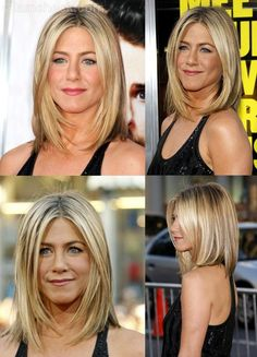 New Hair Cuts Blonde Jennifer Aniston Ideas Medium Short Haircuts, Long Bob Hairstyles, Medium Hair Cuts, Pretty Hairstyles, Medium Hair Styles, Short Hair Styles, Haircut Medium, Hairstyle Ideas, Long Bob Haircuts