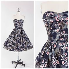 1950s Vintage Dress Designer Alfred Shaheen Hawaiian Black Grey Gold Strapless Vintage 50s Dress with Full Skirt Size Small by stutterinmama on Etsy https://www.etsy.com/listing/258875649/1950s-vintage-dress-designer-alfred