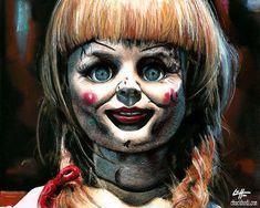 Print - Annabelle - Dark Art Horror Vintage Doll Supernatural Satanic Cult Demon Halloween Got Scary Movies, Horror Movies, Ghost Movies, Yorkshire, Annabelle Doll, Doll Tattoo, Mask Tattoo, Porcelain Jewelry, Fine Porcelain