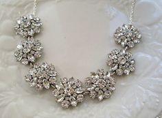 Wedding Statement Necklace Silver  crystal by MissJoansBridal, $45.00
