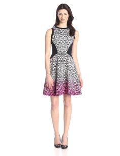 Maggy London Women's Brushed Printed Fit-and-Flare Dress