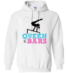 """Gymnastics hoodie sweatshirt that says, """"Queen of the bars"""" in pink, blue, and black. It has confetti-like splashes of color behind a gymnast silhouette on the"""