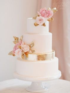 Michelle this is also very elegant wedding cake idea; via Anna Elizabeth Cakes Elegant Wedding Cakes, Beautiful Wedding Cakes, Gorgeous Cakes, Wedding Cake Designs, Pretty Cakes, Perfect Wedding, Dream Wedding, Wedding Cake Gold, Pink And Gold Wedding