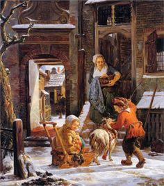 Winter city view with children - Jacob van Strij