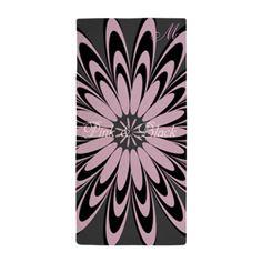 Chic Pink Black Beach Towel