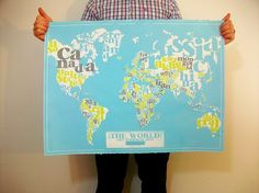 This. is. AWESOME. Typography world map. $59.00 @Shauna Maness, isn't this one fabulous?