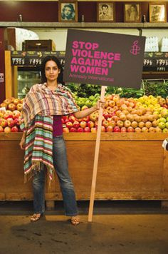 Archie Panjabi is as vivid as her message: stop violence against women.