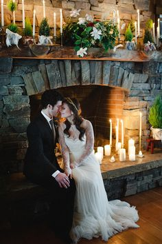 Your dress will look even lovelier lit up by the fire.: Photo by Rebecca Hollis Photography via Style Me Pretty