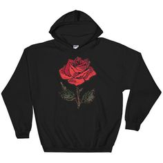 Rose Sweater Flower Sweater Embroidered Sweatshirt Embroidery Sweater... (£28) ❤ liked on Polyvore featuring tops, hoodies, black, sweatshirts, women's clothing, unisex tops, colorful tops, colorful hoodie, embroidered hooded sweatshirts and flower hoodie