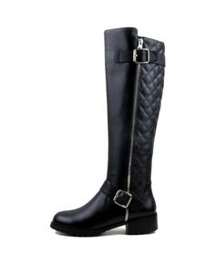 Stitched Buckles-detailed Leather Over-the-knee Boots | BlackFive