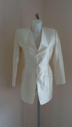 Donna Karan New York Outerwear Donna Karan, Trench Coats, Blazer Jacket, How To Make Money, Blazers, New York, Silk, Cream, Jackets