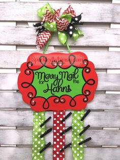 Personalized Christmas Card Holder: Merry Mail by SparkledWhimsy on Etsy