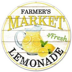 12 Inch Sign Metal Farmer's Market Fresh Lemonade, Lemonade Sign For Wreath, 12 Inch Metal Sign, Lem Lemonade Sign, Lemonade Stands, Lemon Kitchen Decor, Wreath Supplies, Garden Signs, Trendy Tree, Mellow Yellow, Yellow Cream, Lemon Yellow