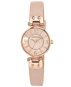 Anne Klein Women's Blush Leather Strap Watch