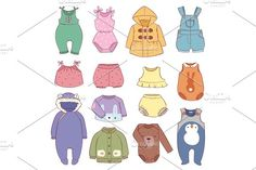 Set of seasonal infant clothes for kids babyish fashion infantile puerile cloth vector illustration by RocketArt on @creativemarket